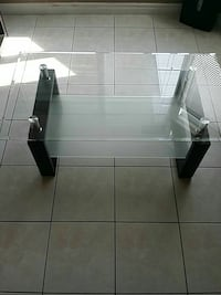 rectangular black wooden base glass coffee table