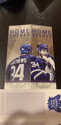 Leafs tickets - Home opener - Section 309 Row 17 Vaughan, L4K 5H5