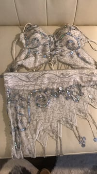 White and gray beaded belly dance custome Toronto, M5V 1C1