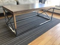 Brown wooden coffee table with metal legs ( 4foot long) Vancouver, V6G 1V4