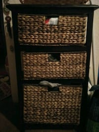 3 drawer black wood n wicker table For Sale Albuquerque, 87112