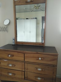 Furniture: dresser with mirror and chest drawer wi Brossard