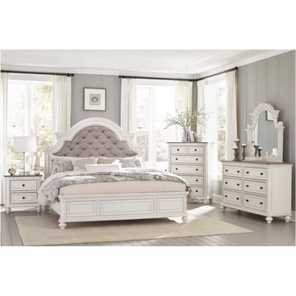 Queen Bedroom Set - Antique White Rub-Through Finish  - Brand New - Free Home Delivery SF bay area