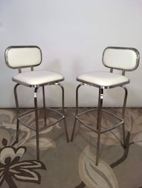 Brand new pair of white and silver barstools