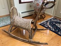 Antique Rocking horse for sale. Handmade from cane material Over 100 years old .