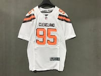 NIKE NFL CLEVELAND DAWG POUND RUGBY JERSEY IN WHITE ORANGE