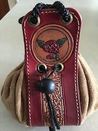Leather and suede pouch bag from Republican Argentina with embossed seal Frederick, 21702