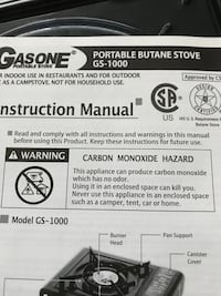 Gasone GS-1000 portable butane stove manual Speedway, 46224
