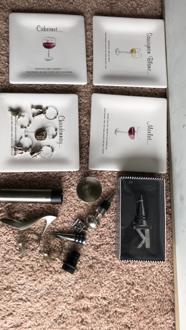 Wine connoisseur and lovers treats yourself to these 18 incredible wine and liquor items: shoe wine opener four wine saucers five  wine charms Four wine bottle covers one brand new still in package
