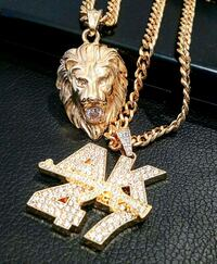 AK 47 lion king gold tone plated chain necklace