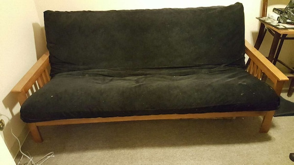 Black Suede Futon Sofa