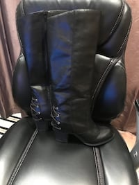 Fergilicious Leather Black Or Brown knee high boot Size 10