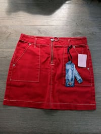 BNWT Red Denim Mini Skirt Toronto