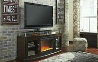 Chanceen Dark Brown Medium TV Stand with Glass/Sto Houston