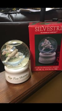 "Baby's First Christmas musical glass snow globe. Plays ""The Wonder of  Christmas "" East Dundee"