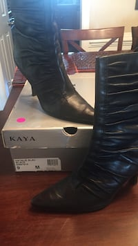 black Kaya lether pointed-toe heeled booties Gainesville, 20155