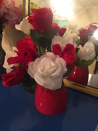 white and red artificial flowers HOUSTON
