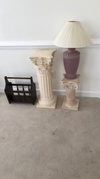 Two White Pedestals, a Lamp & Magazine Rack Bowie, 20721