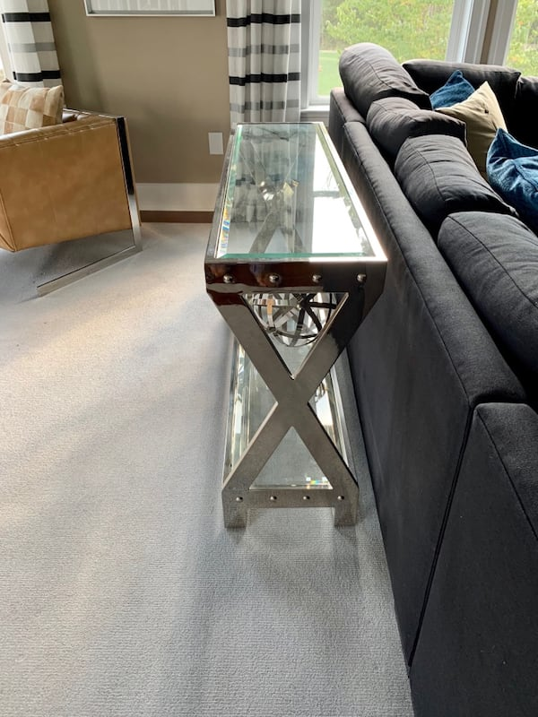 Chrome and glass heavy weight Sofa table 77603602-d934-43aa-a4c1-8f921270644c