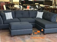 Brand new black linen fabric sectional sofa with ottoman  Silver Spring, 20902