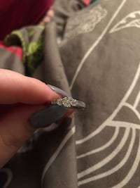 silver and diamond solitaire ring