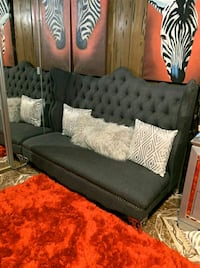 Tufted Navy grey Upholstered Bench
