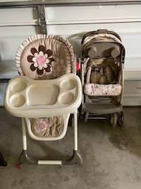 Nice stroller and High Chair