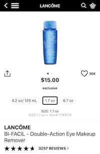 New lancome bi facil double action eye makeup remover. 2220 mi