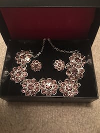 Lilac/silver jewellery set 2 piece