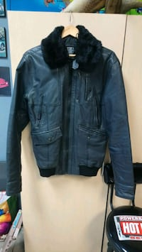 Dark gray leather zip-up jacket Toronto, M6E 1K9