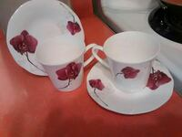 two white-and-red floral ceramic teacups with saucers