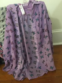 Purple and black teal and orange butterfly very pretty blouse girls size large Union Bridge, 21791