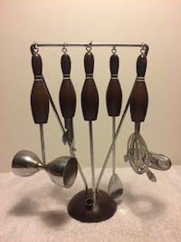 MIDCENTURY COCKTAIL SET MIXERS BOWLING THEME COOL VINTAGE MAN CAVE WOW