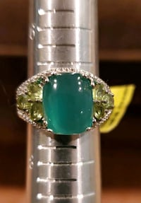 Exquisite Chrysoprase Ring with Emerald and Peridot Accents sz 7 Gainesville, 20155