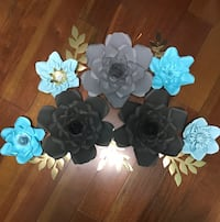 Paper flowers grey and Baby blue colour. Toronto, M9N