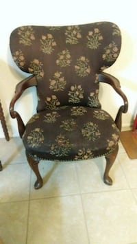 black wooden framed floral padded armchair Lodi