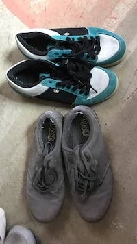 pair of gray-and-blue Nike sneakers