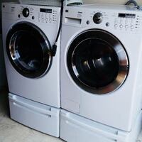 white front-load washer and dryer set 786 km