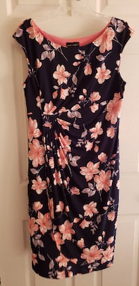 Navy and coral floral sleeveless dress Concord