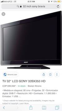 32 inch Sony Bravia. Remote control included. Little Rock, 72204