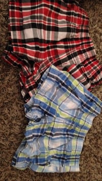 Two red and blue plaid boxer shorts