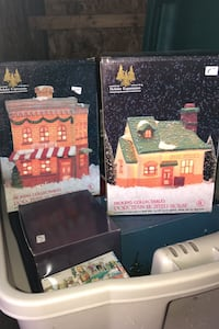 Variety of porcelain Christmas houses