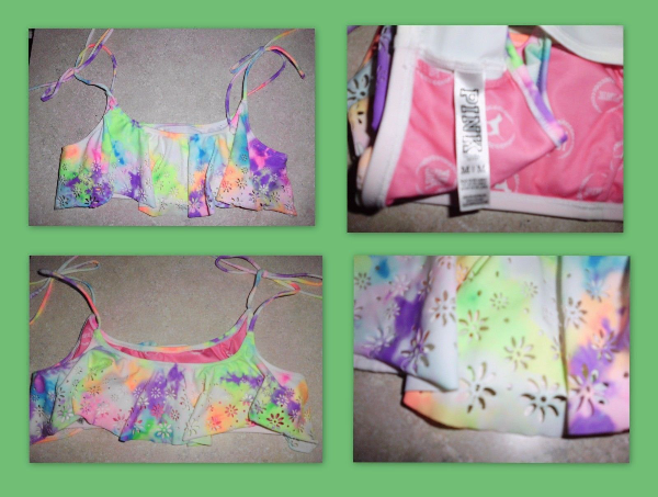Sz M VICTORIA'S SECRET LOVE PINK Multi Color Tie Dye Bikini Swim Top Lakewood
