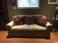 Oversized 2-seat couch in a cream with embossed pattern. Brand New, never used.  Downsizing so it needs to go Brant, N3T