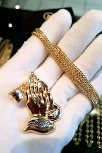 "10K REAL YELLOW GOLD 24"" FRANCO WITH TWO-TONE PRAYER HANDS  Toronto, M1K 1N8"