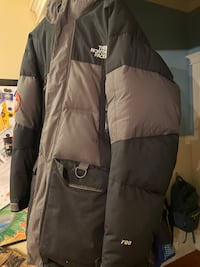 Grey and Black North Face Jacket Size Large