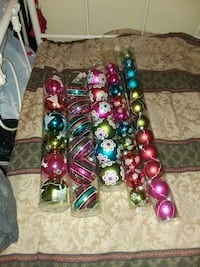 assorted color Christmas baubles