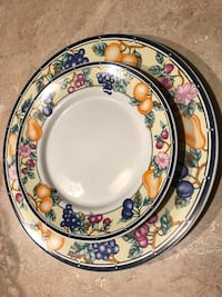 round white, blue, and red floral ceramic plate Butler, 18222