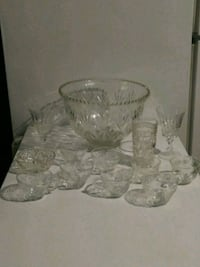 Vintage Crystal Punch Bowl Set Greensboro