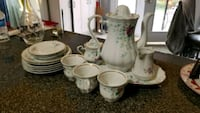 white and pink floral ceramic tea set Brampton, L6R 1L2